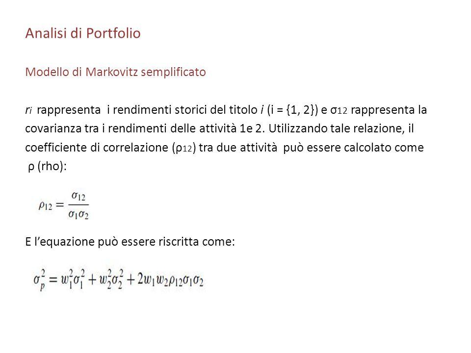 Analisi di Portfolio Modello di Markovitz semplificato