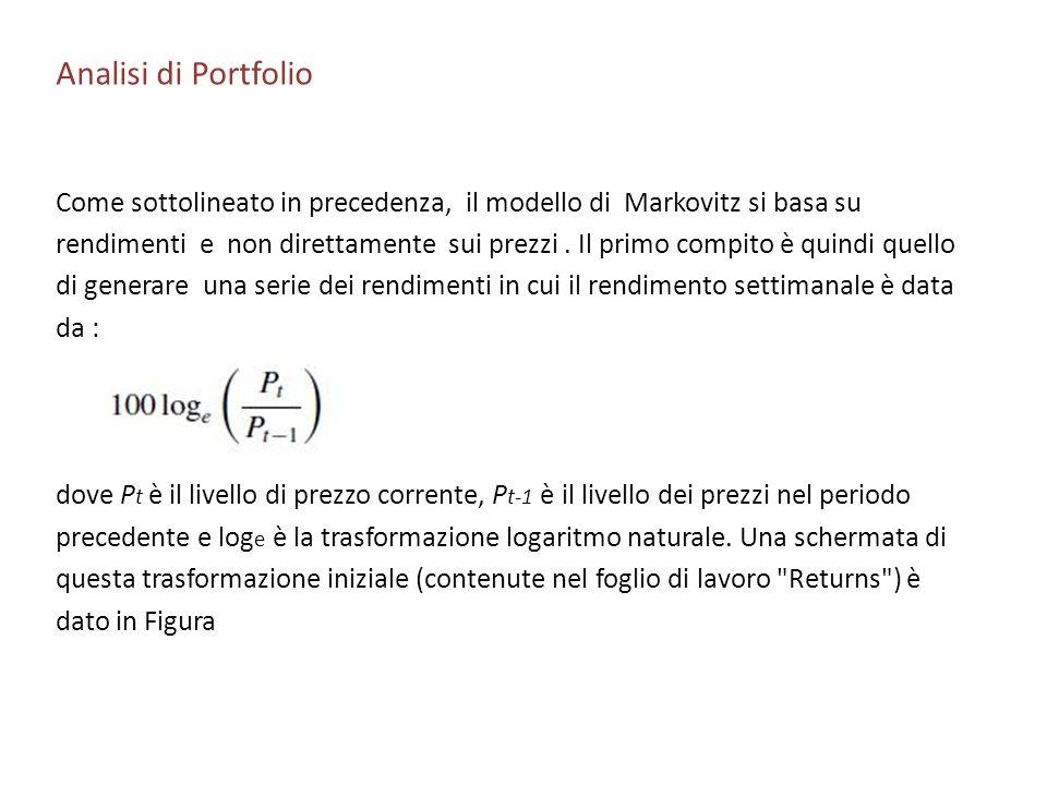 Analisi di Portfolio Come sottolineato in precedenza, il modello di Markovitz si basa su.