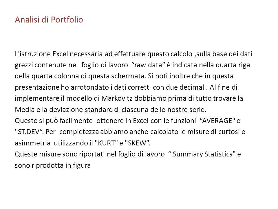 Analisi di PortfolioL istruzione Excel necessaria ad effettuare questo calcolo ,sulla base dei dati.