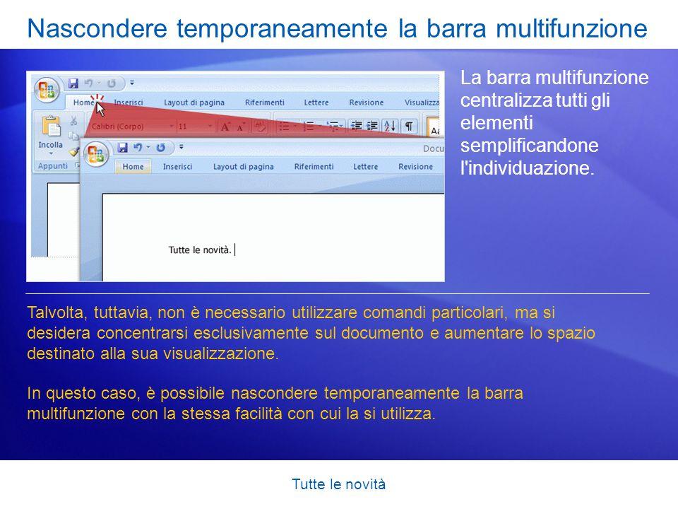 Nascondere temporaneamente la barra multifunzione