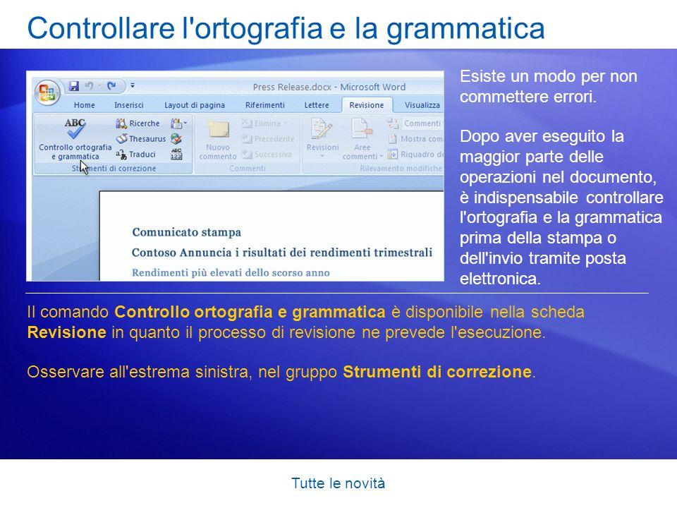 Controllare l ortografia e la grammatica