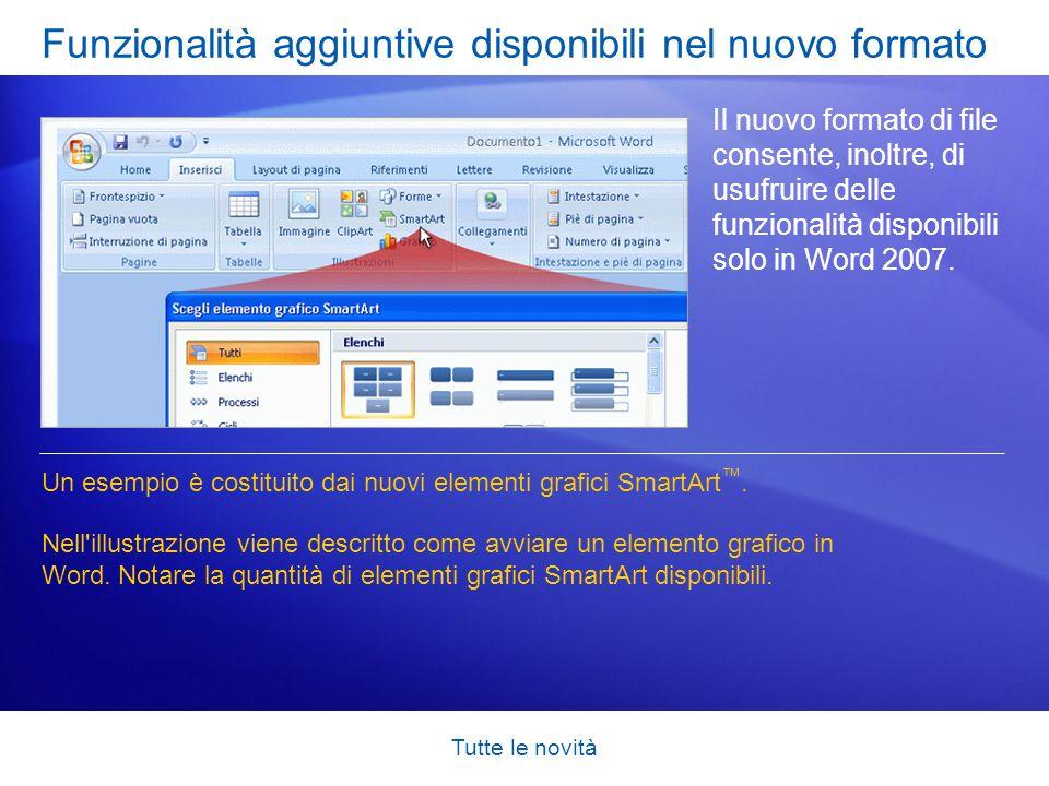 Funzionalità aggiuntive disponibili nel nuovo formato