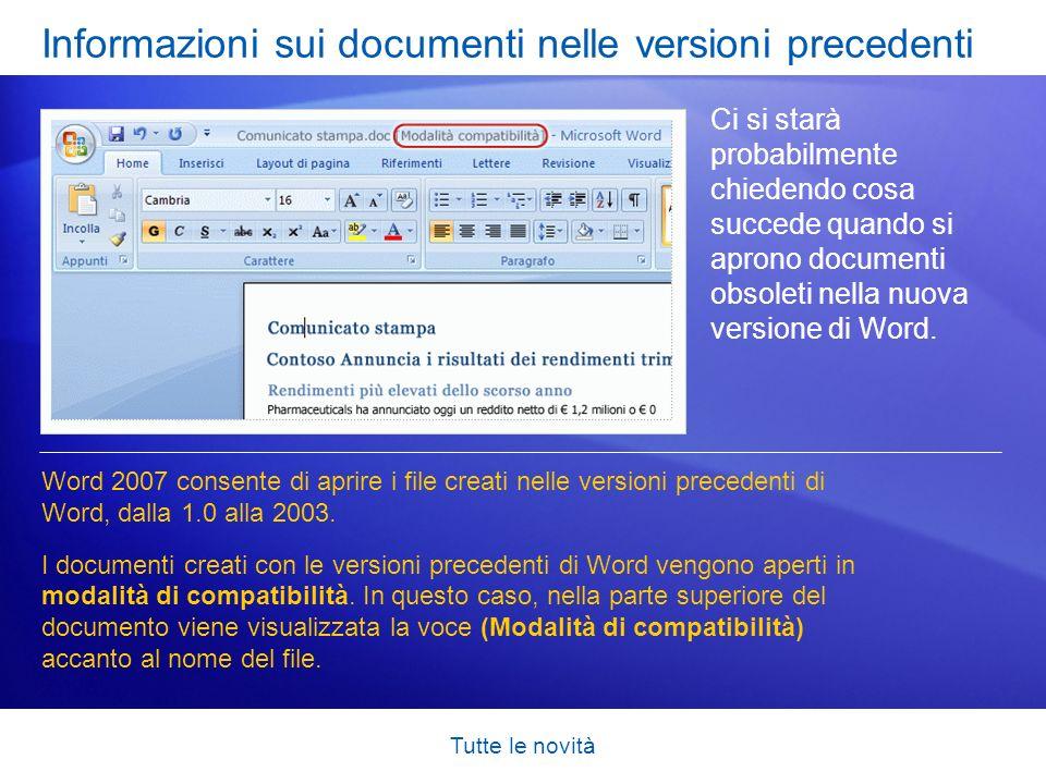 Informazioni sui documenti nelle versioni precedenti