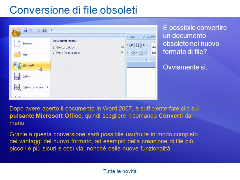 Conversione di file obsoleti