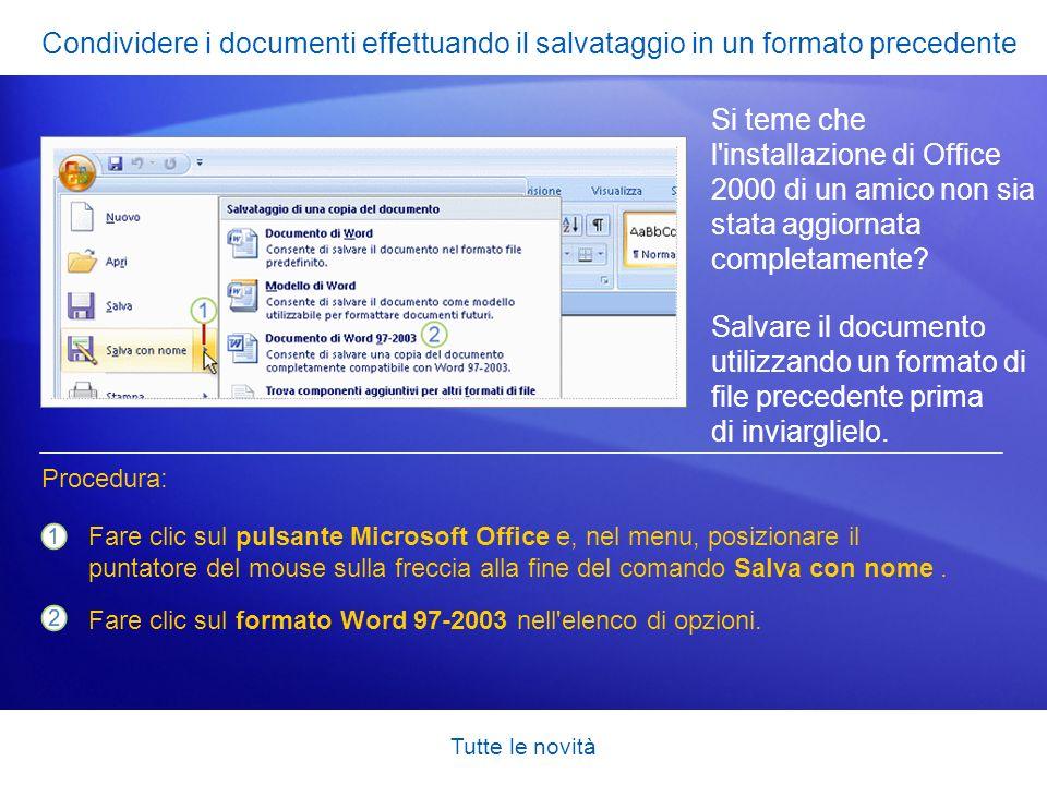 Condividere i documenti effettuando il salvataggio in un formato precedente