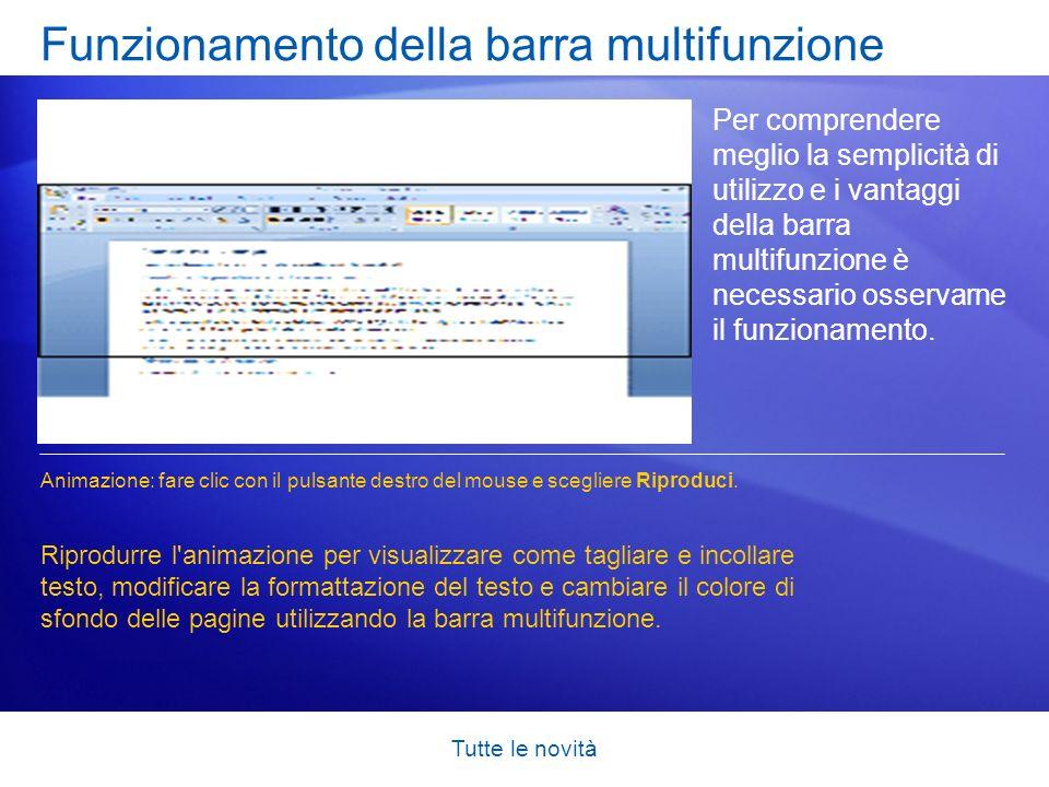 Funzionamento della barra multifunzione