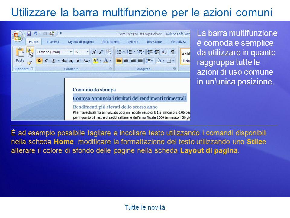 Utilizzare la barra multifunzione per le azioni comuni