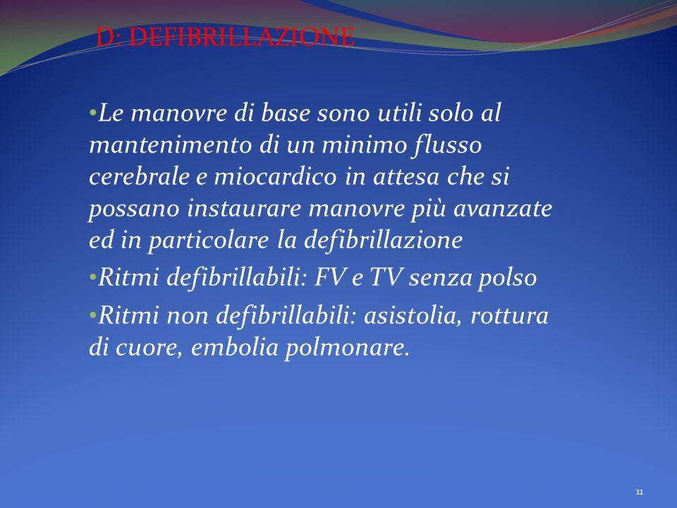 D: DEFIBRILLAZIONE