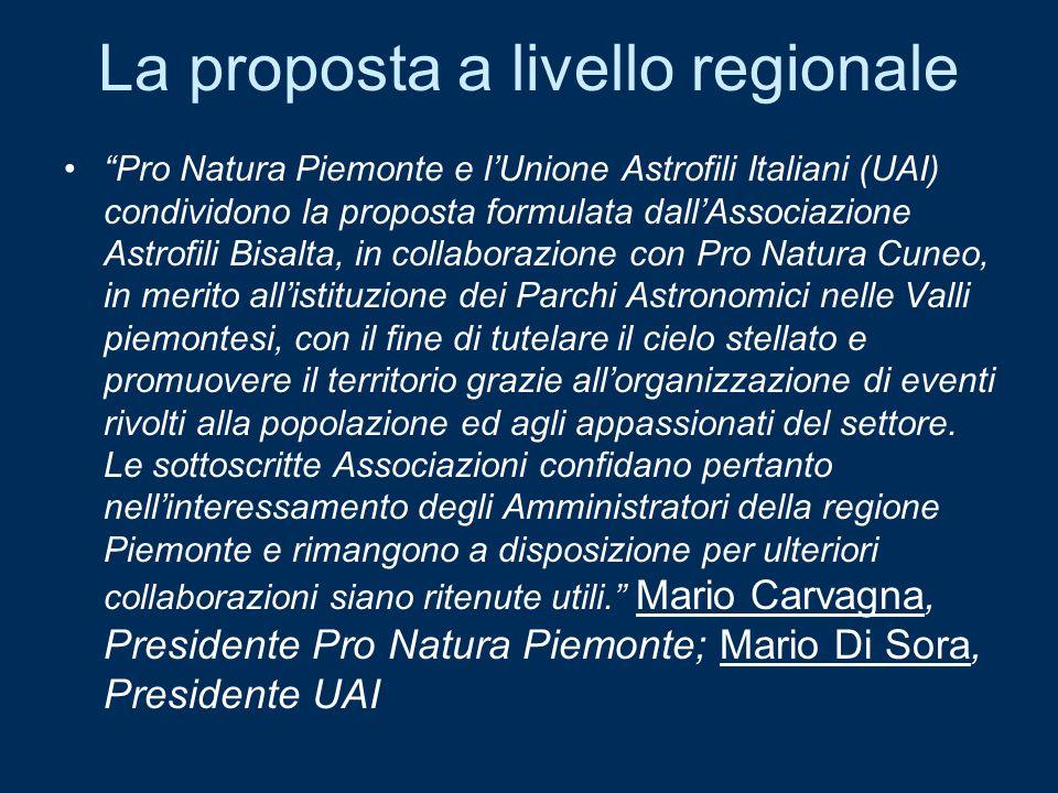 La proposta a livello regionale