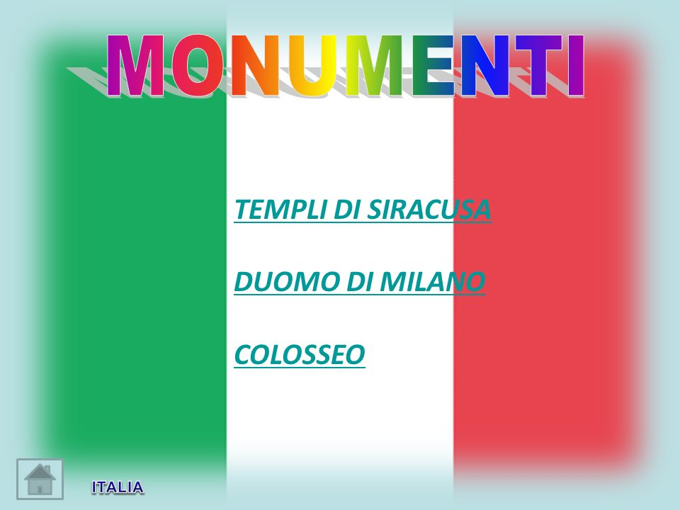 MONUMENTI TEMPLI DI SIRACUSA DUOMO DI MILANO COLOSSEO ITALIA