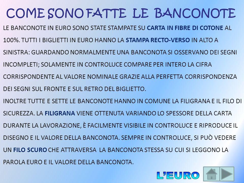 COME SONO FATTE LE BANCONOTE