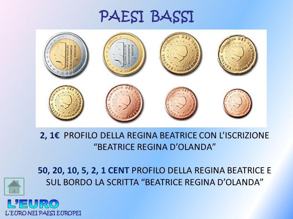 PAESI BASSI 2, 1€ PROFILO DELLA REGINA BEATRICE CON L'ISCRIZIONE. BEATRICE REGINA D'OLANDA