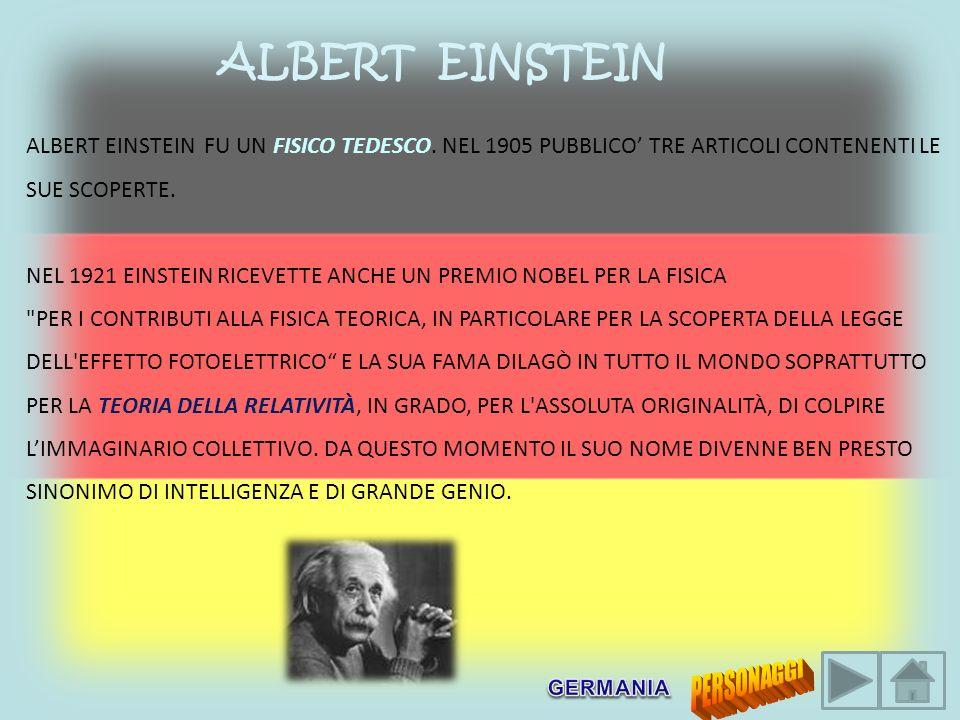 ALBERT EINSTEIN ALBERT EINSTEIN FU UN FISICO TEDESCO. NEL 1905 PUBBLICO' TRE ARTICOLI CONTENENTI LE SUE SCOPERTE.