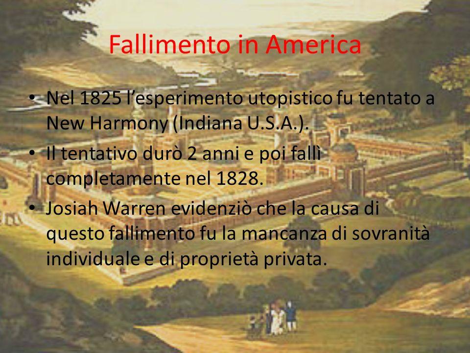 Fallimento in America Nel 1825 l'esperimento utopistico fu tentato a New Harmony (Indiana U.S.A.).