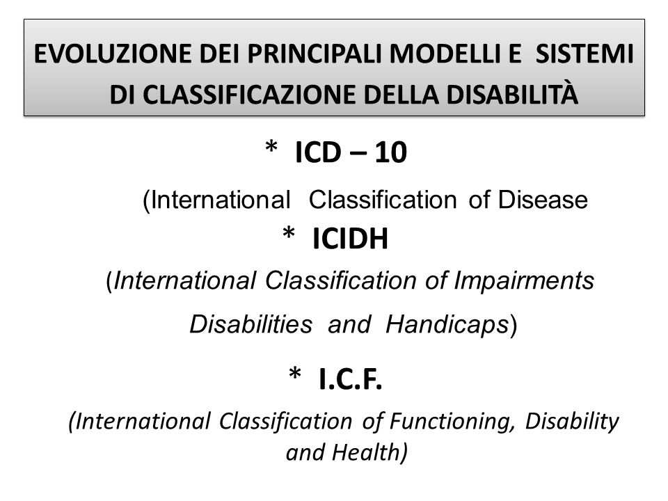 (International Classification of Disease * ICIDH
