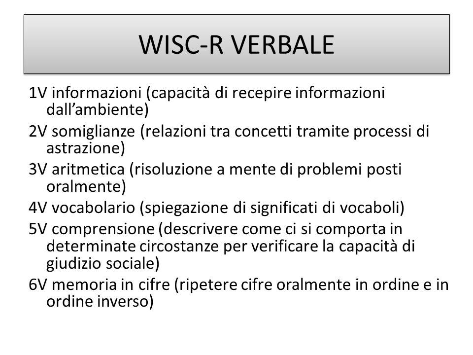 WISC-R VERBALE