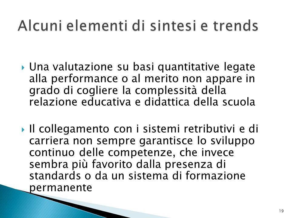 Alcuni elementi di sintesi e trends