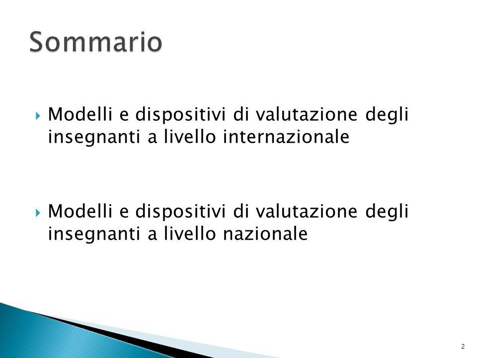 SommarioModelli e dispositivi di valutazione degli insegnanti a livello internazionale.