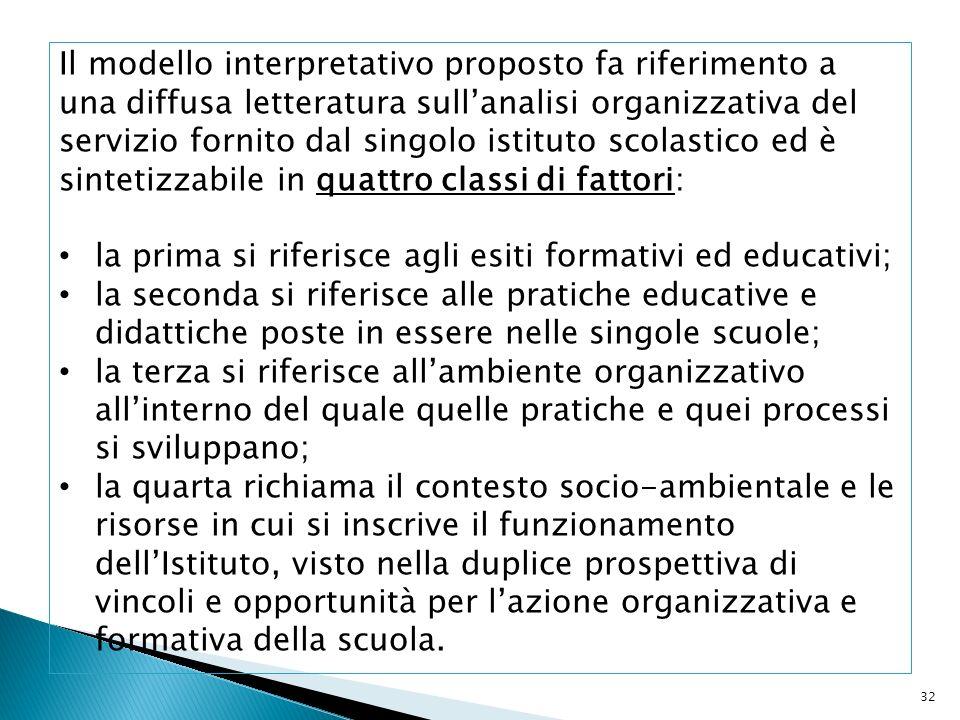Il modello interpretativo proposto fa riferimento a una diffusa letteratura sull'analisi organizzativa del servizio fornito dal singolo istituto scolastico ed è sintetizzabile in quattro classi di fattori: