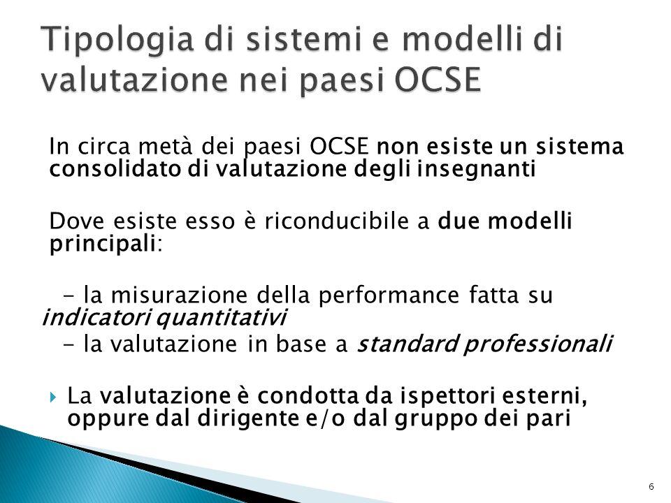 Tipologia di sistemi e modelli di valutazione nei paesi OCSE