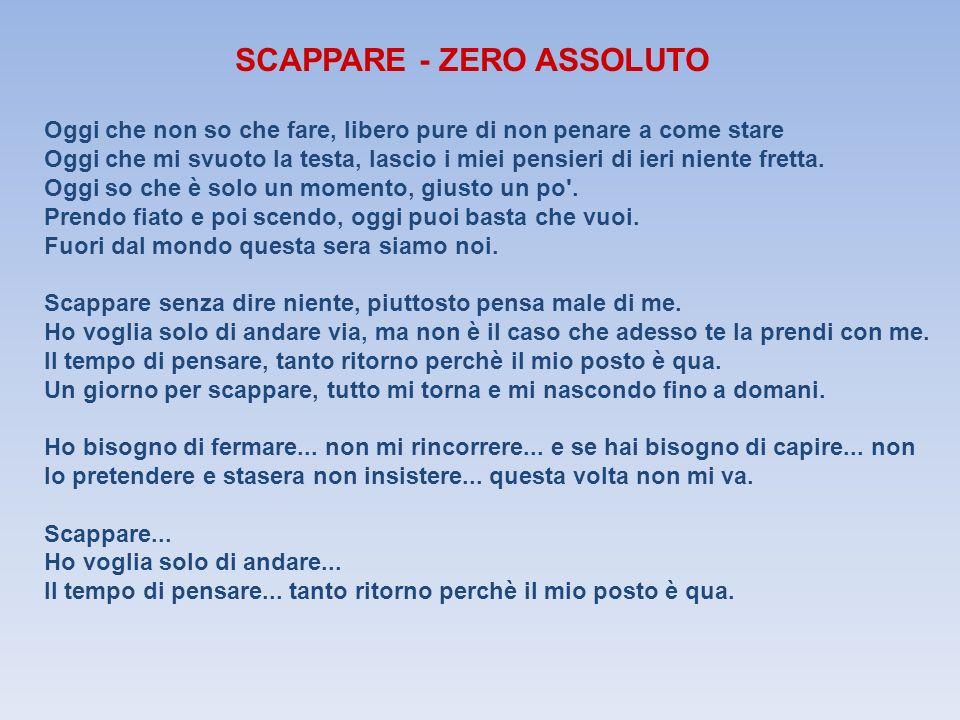SCAPPARE - ZERO ASSOLUTO