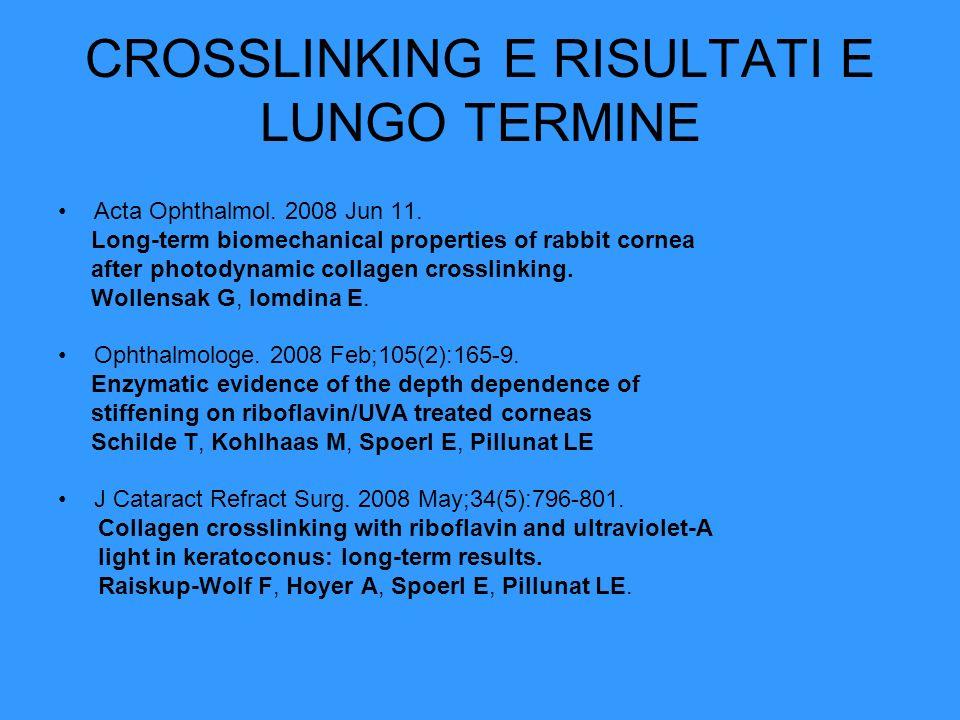 CROSSLINKING E RISULTATI E LUNGO TERMINE