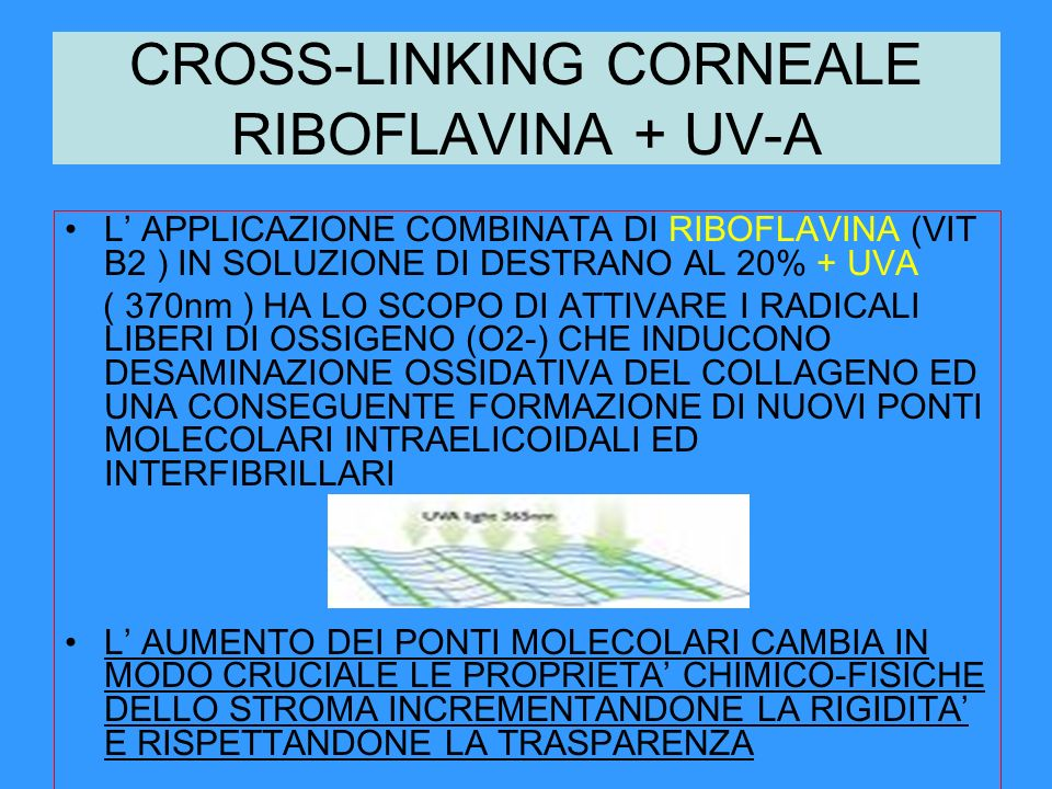 CROSS-LINKING CORNEALE RIBOFLAVINA + UV-A