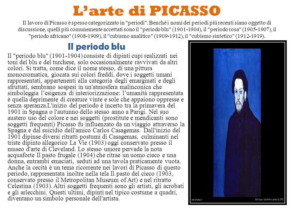 L'arte di PICASSO Il lavoro di Picasso è spesso categorizzato in periodi . Benché i nomi dei periodi più recenti siano oggetto di discussione, quelli più comunemente accettati sono il periodo blu (1901-1904), il periodo rosa (1905-1907), il periodo africano (1908-1909), il cubismo analitico (1909-1912), il cubismo sintetico (1912-1919).