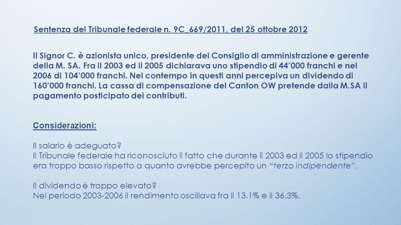 Sentenza del Tribunale federale n. 9C_669/2011, del 25 ottobre 2012