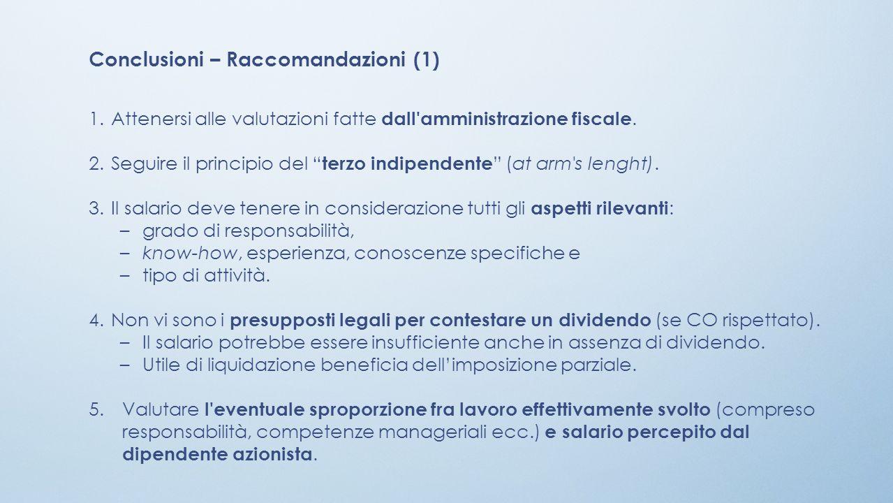 Conclusioni – Raccomandazioni (1)