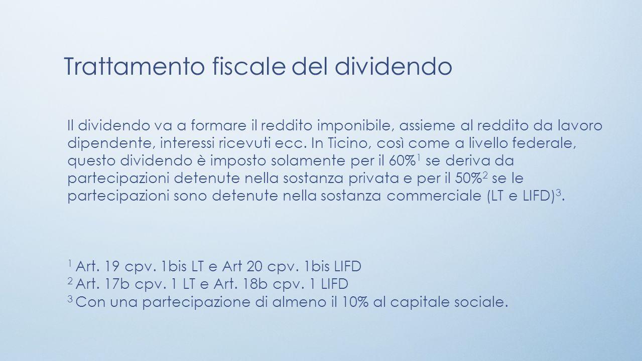 Trattamento fiscale del dividendo