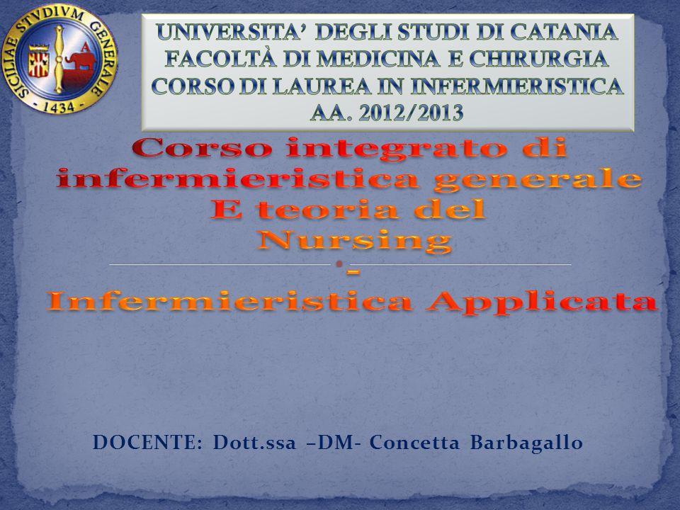 DOCENTE: Dott.ssa –DM- Concetta Barbagallo