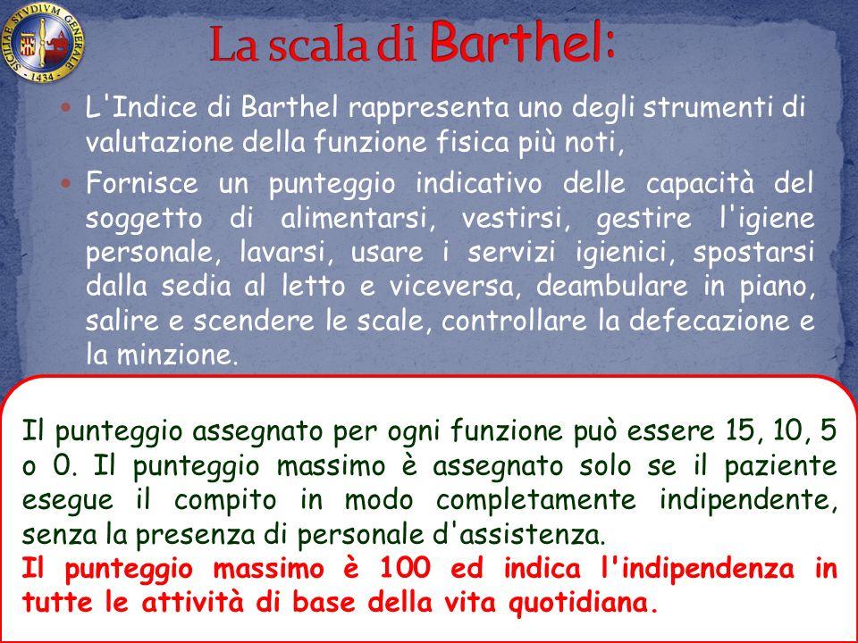 La scala di Barthel: L Indice di Barthel rappresenta uno degli strumenti di valutazione della funzione fisica più noti,