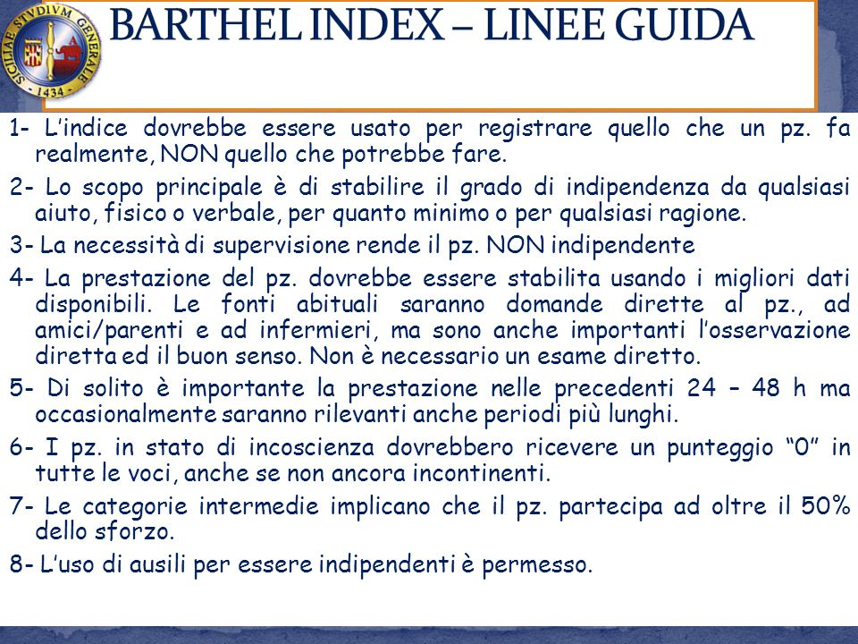 BARTHEL INDEX – LINEE GUIDA
