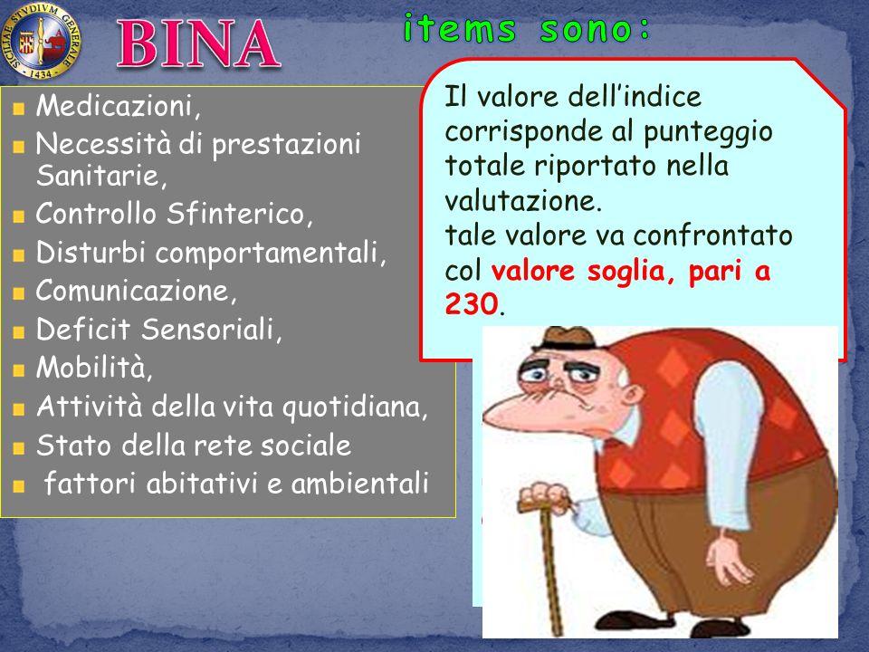 BINA items sono: Il valore dell'indice corrisponde al punteggio totale riportato nella valutazione.