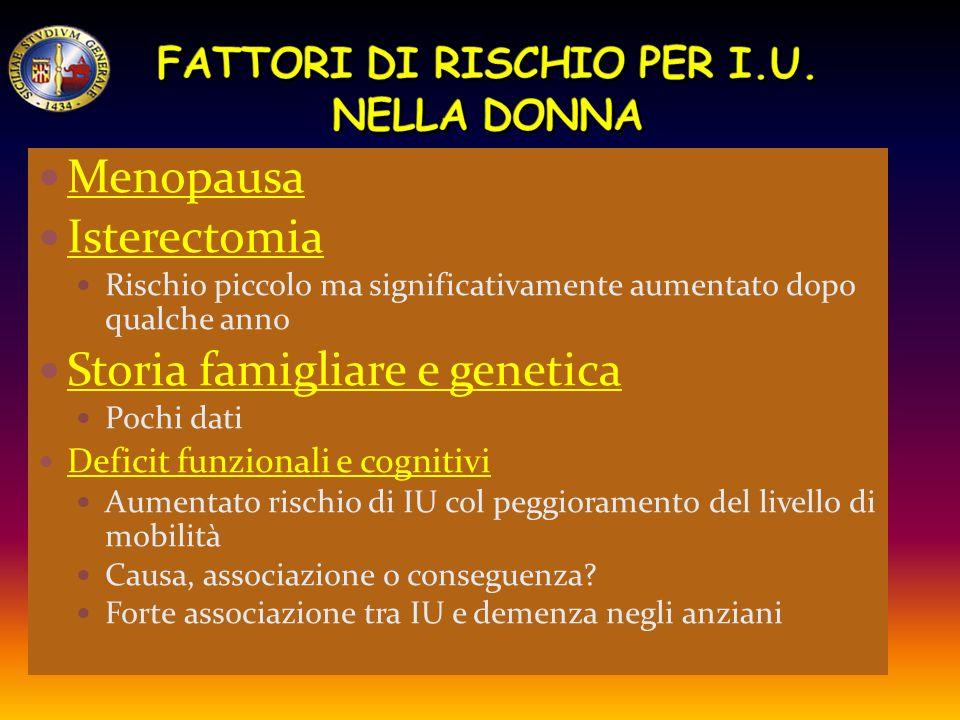 FATTORI DI RISCHIO PER I.U. NELLA DONNA