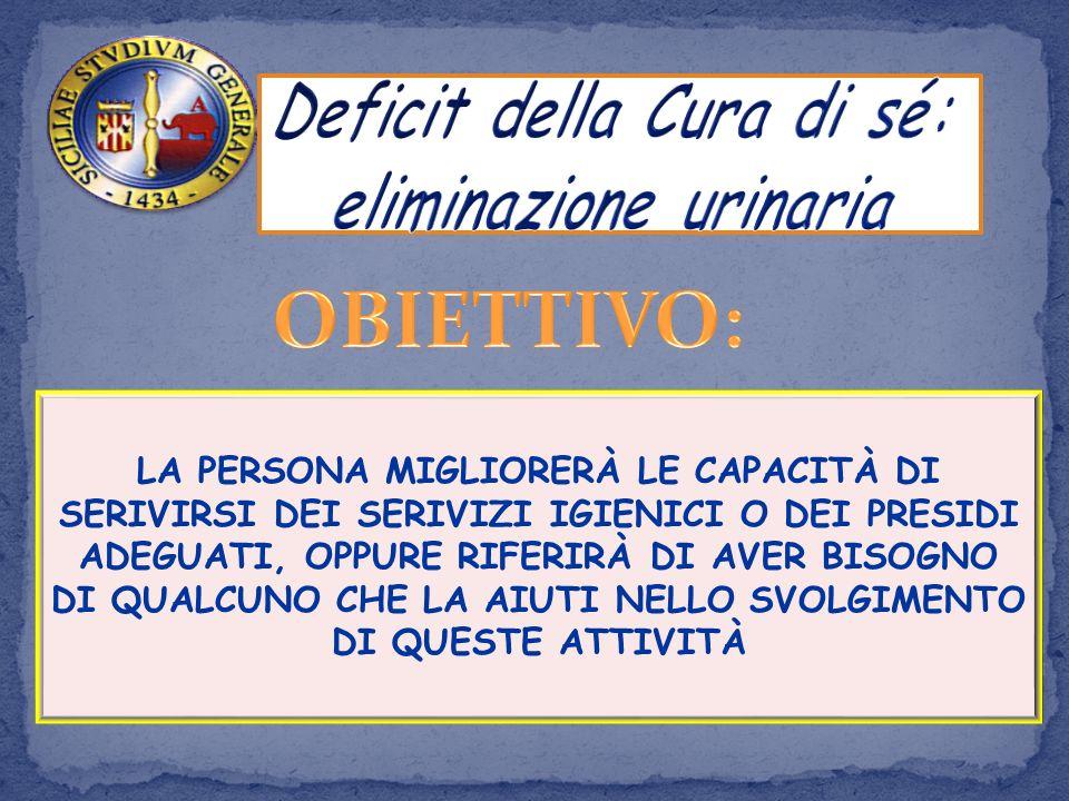 Deficit della Cura di sé: eliminazione urinaria