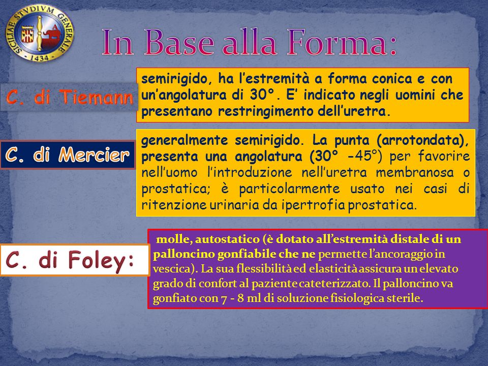 In Base alla Forma: C. di Foley: C. di Tiemann C. di Mercier