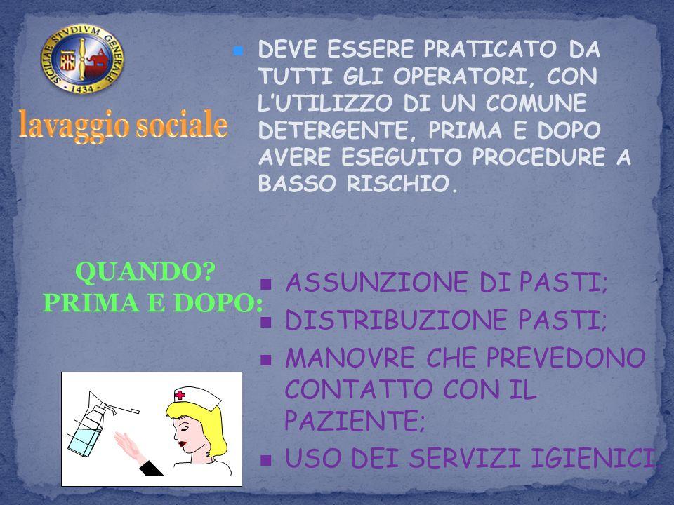 lavaggio sociale QUANDO PRIMA E DOPO: ASSUNZIONE DI PASTI;