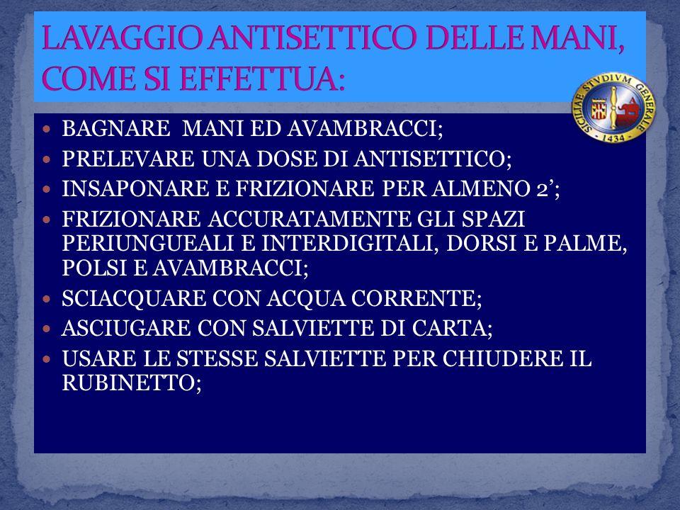 LAVAGGIO ANTISETTICO DELLE MANI, COME SI EFFETTUA: