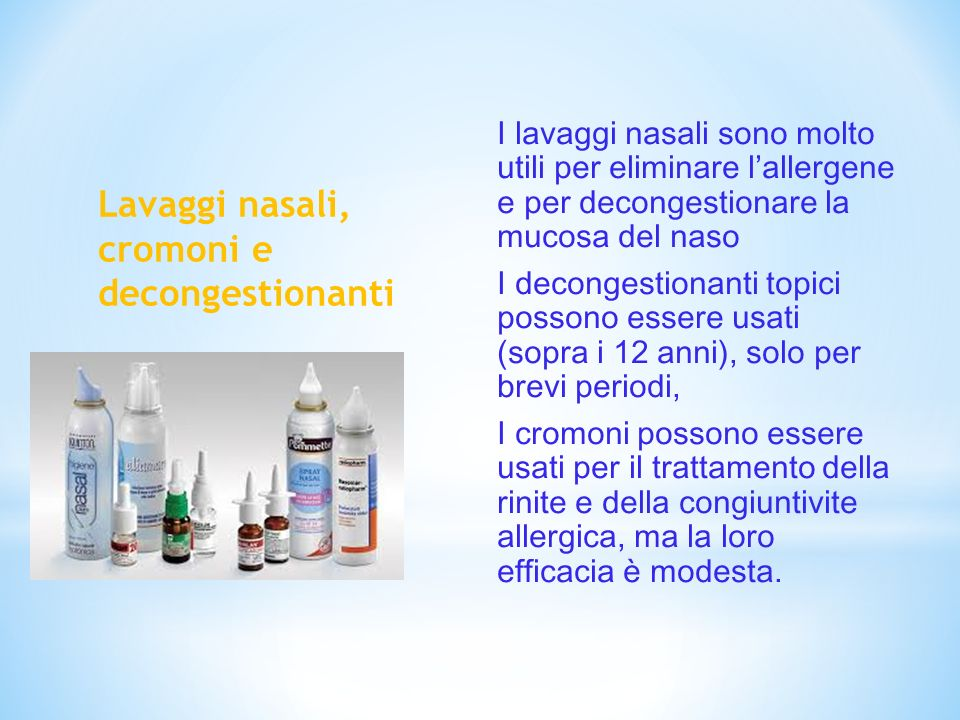 Lavaggi nasali, cromoni e decongestionanti