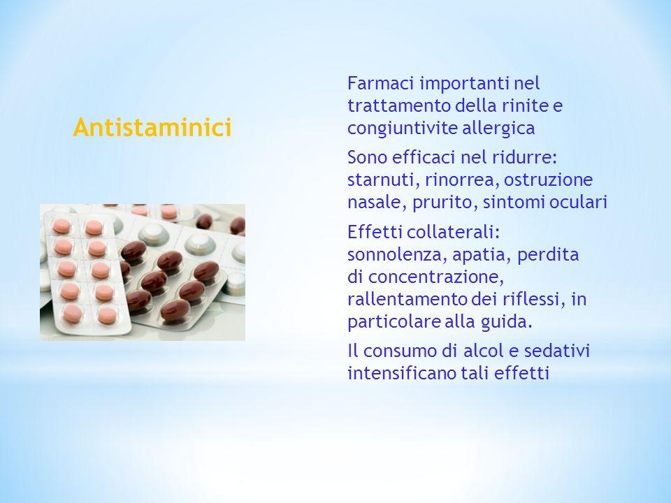Farmaci importanti nel trattamento della rinite e congiuntivite allergica