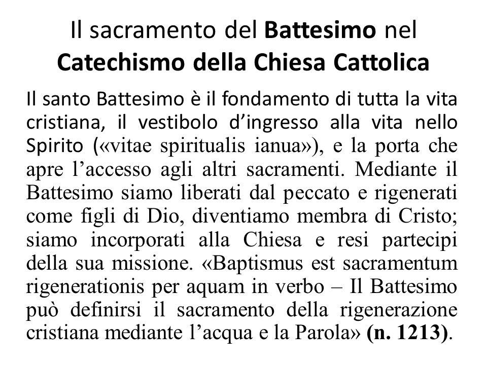 Il sacramento del Battesimo nel Catechismo della Chiesa Cattolica