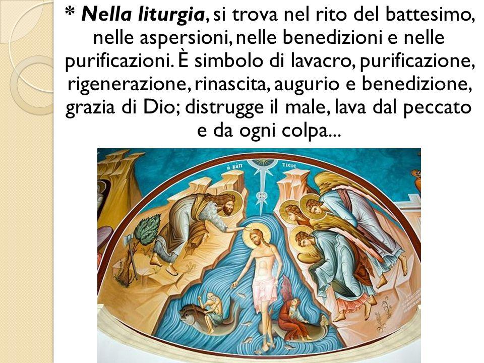 * Nella liturgia, si trova nel rito del battesimo, nelle aspersioni, nelle benedizioni e nelle purificazioni.