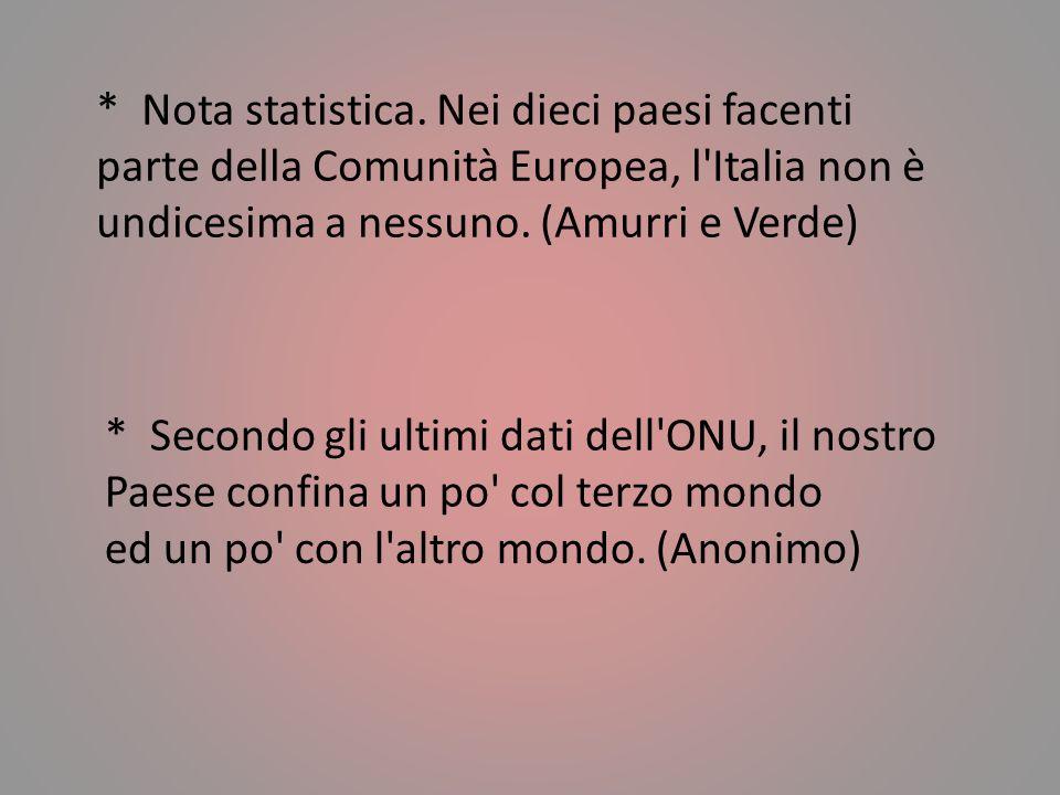 * Nota statistica. Nei dieci paesi facenti parte della Comunità Europea, l Italia non è undicesima a nessuno. (Amurri e Verde)