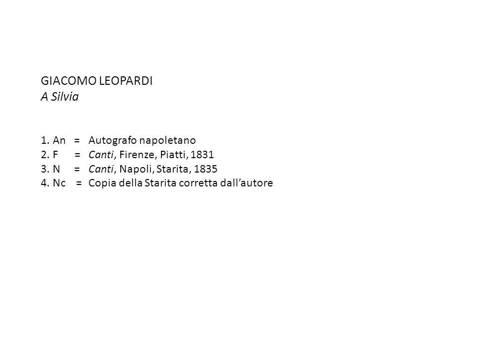GIACOMO LEOPARDI A Silvia 1. An =. Autografo napoletano 2. F =