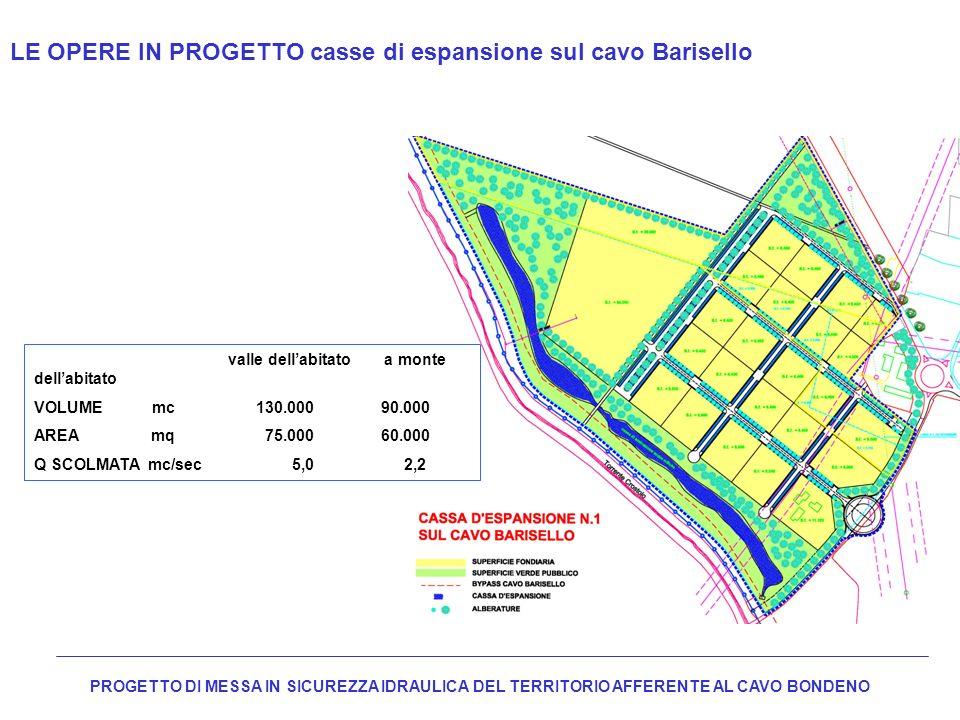 LE OPERE IN PROGETTO casse di espansione sul cavo Barisello