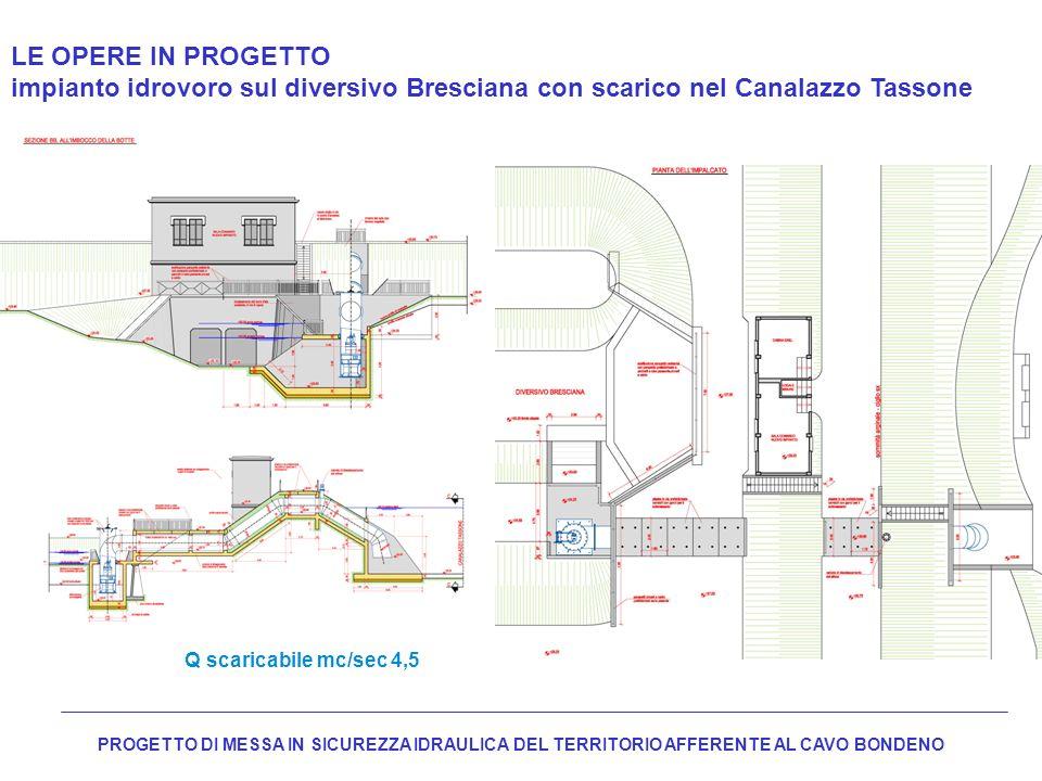 LE OPERE IN PROGETTO impianto idrovoro sul diversivo Bresciana con scarico nel Canalazzo Tassone. Q scaricabile mc/sec 4,5.