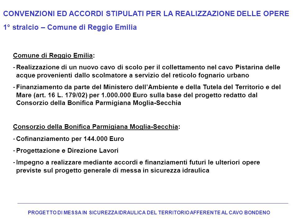 CONVENZIONI ED ACCORDI STIPULATI PER LA REALIZZAZIONE DELLE OPERE