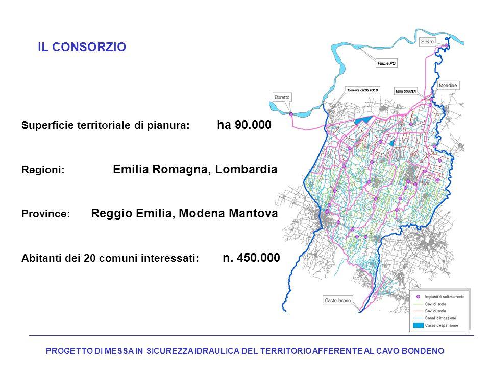 IL CONSORZIO Superficie territoriale di pianura: ha 90.000